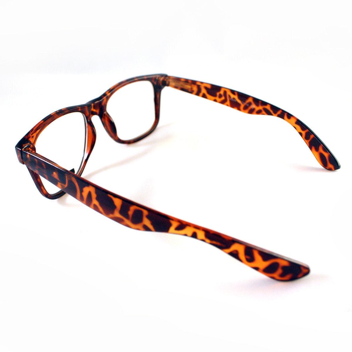 Classic Square Horn Rim Eyeglasses Clear Lens Glasses Tortoise Brown