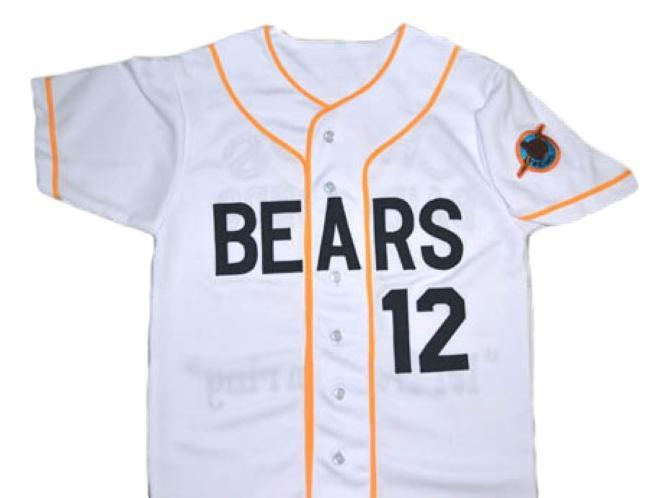 Bad news bears movie  12 button down baseball jersey white 1