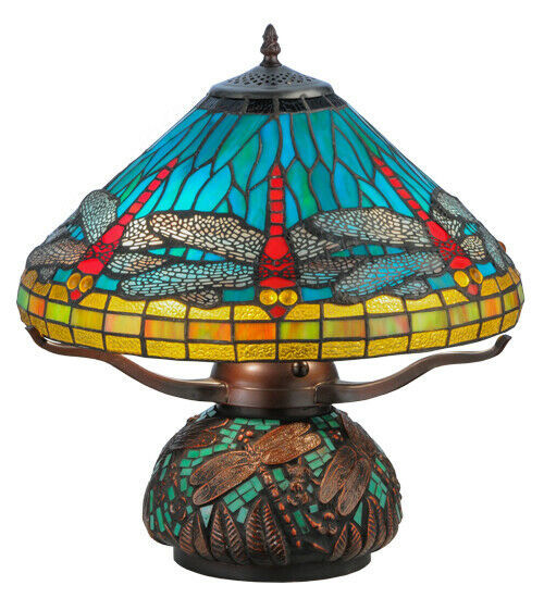 Meyda Tiffany Vibrant Blue, Red, Yellow Dragonfly Mosaic Base Table Lamp 17""