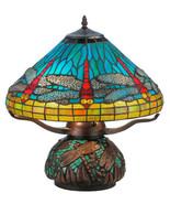 Meyda Tiffany Vibrant Blue, Red, Yellow Dragonfly Mosaic Base Table Lamp... - $590.00