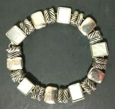 Premier Designs Bracelet Silver Tone Mother of Pearl Textured Magnet Clasp - $8.60