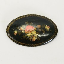 Vintage Hand Painted Russian Black Lacquer Floral Brooch Pin Singed 1993... - $24.50