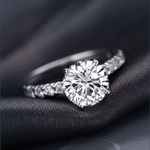 2.50 Ct Round Cut Diamond Solid 14K White Gold Solitaire Engagement Prom... - $294.99