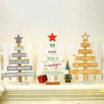 Wooden Mini Christmas Tree Ornaments Merry Christmas Party Decor - $7.99