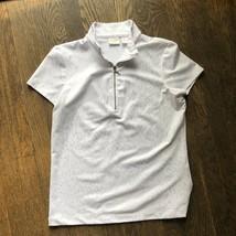 Chicos weekends half zip polyester spandex white zebra short sleeve top ... - $14.84