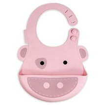 Colorful and Durable Cartoon Pig Button Silicone Baby Bibs Pocket Meals