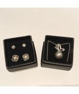 Avon 2 Earrings 1 Necklace 1 Jacket Pearlesque Rhinestone Butterfly Pendant New - £18.12 GBP