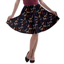 Women's Dogs Silhouettes Print Elastic Flare A-Line Skater Skirt (XS-3XL... - $28.99+