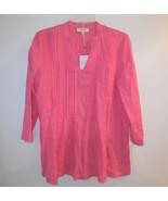 Charter Club new Linen Tunic Top sz S Frosted Pink NWT 3/4 Sleeve V-Neck - $24.00