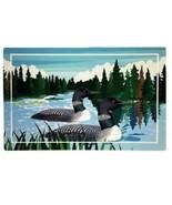 Loon Birds on Lake Weathergripper Floor Mat Natural Rubber Bath Entry Bo... - $37.57