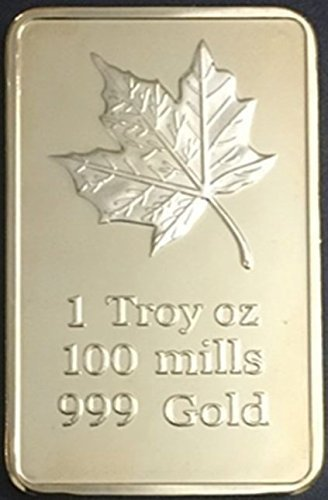 One Ounce Fine Gold Maple Leaf 1 Oz Gold Bar Replica - Shipped from USA