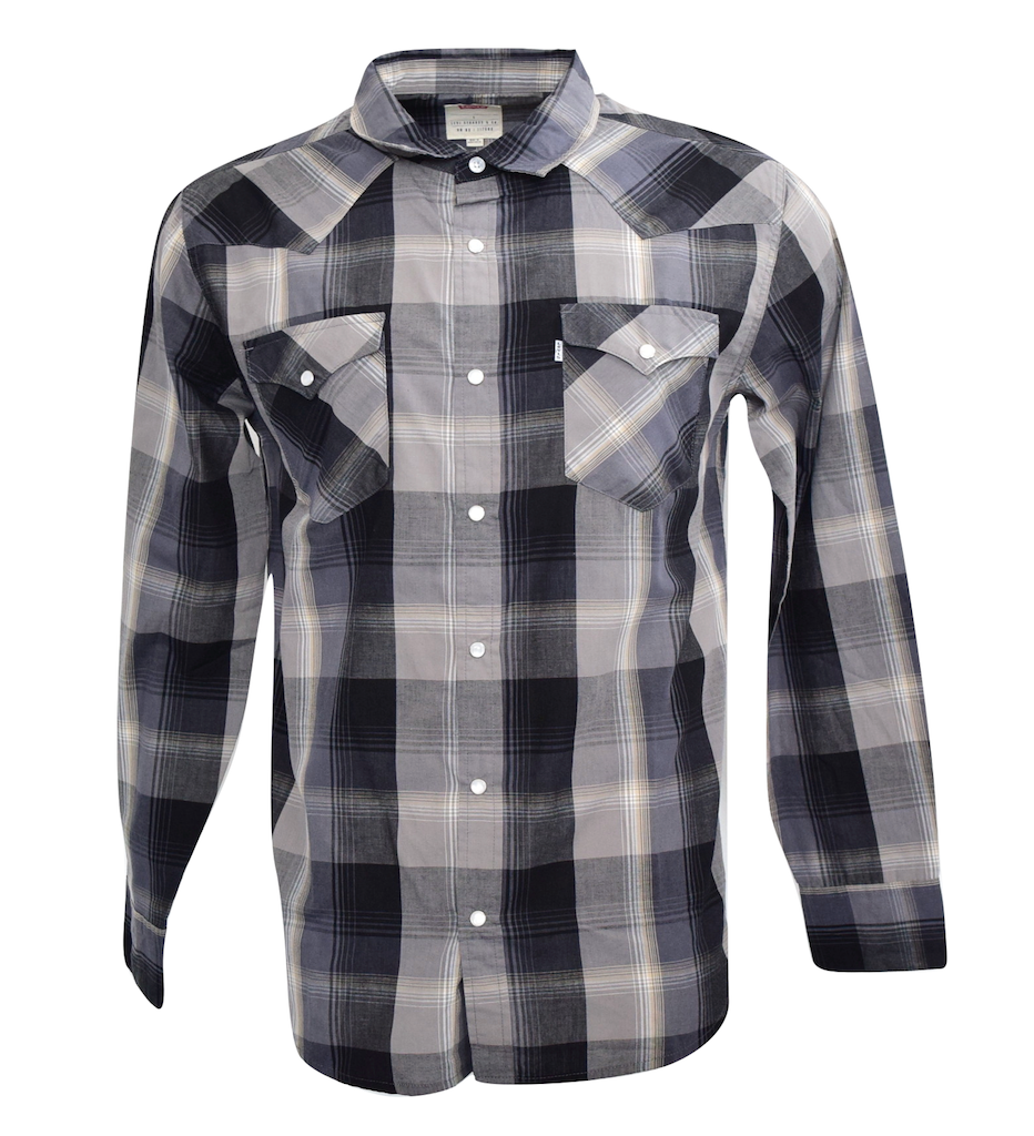 NEW LEVI'S MEN'S CLASSIC COTTON BUTTON UP LONG SLEEVE PLAID SHIRT CHARCOAL-6092