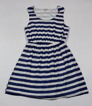 Charlotte Russe Dress Womens Juniors Medium Short Lacy Navy White Striped - $14.30