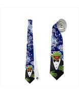 necktie kermit muppet tuxedo christmas holiday snowflakes funny tie - $22.00