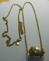 Signed Express Long Gold-tone Large Faux Pearl Pendant Necklace - $26.72