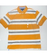 Tommy Hilfiger Mens Polo Shirt Striped Yellow White Blue Size XLarge NWT - $38.79