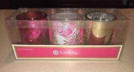 Lilly Pulitzer for Target Glass Votive Candle Holders (Set of 3) NIB Pal... - $29.99