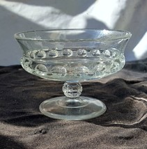 EAPG Clear Ripley Glass Baby Thumbprint Or Dakota Pattern Footed Sauce Bowl - $13.00