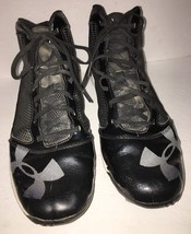 Under Armour Mens Baseball Cleats Size 12-#1235296-001-Blk/Wht SHIPS N 24 HOURS - $24.13