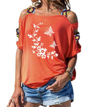 Orange Cold Shoulder Blouse Large Short Sleeve Shirt Flowers Butterfly New - $14.70