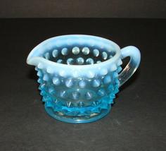 Vintage Fenton Art Hobnail Blue Opalescent Glass Creamer 2 Inch - $9.89