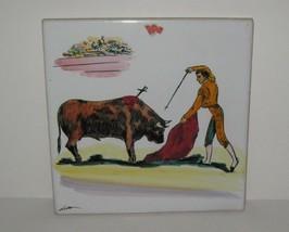 """Vtg Matador Bull Tile Bullfighter Ceramic Hand Painted Spanish 8"""" Trivet... - $12.86"""