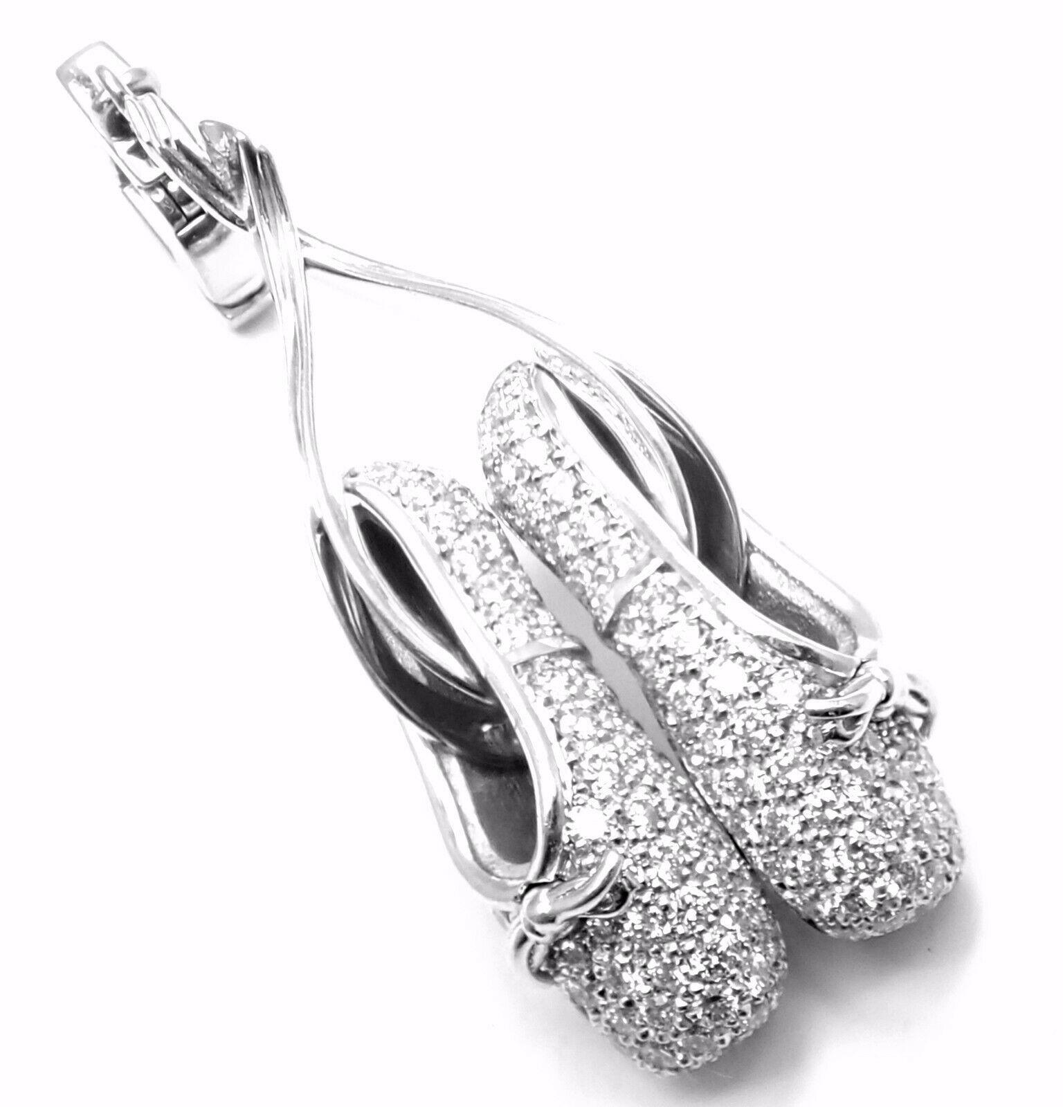 Rare! Authentic Louis Vuitton 18k White Gold Diamond Ballet Shoes Charm Pendant - $16,680.00