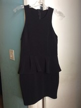LUSH Juniors Black Zip Racerback Sleeveless Peplum Stretch Bodycon Dress Sz L - $13.99