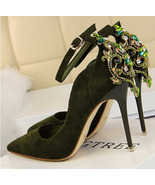 87H097 Luxury Rhinestones Bridal pump, size 4-8.5, deep green - $58.80