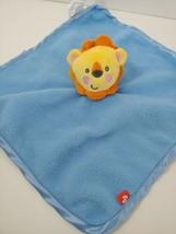 Fisher Price baby blue fleece security blanket yellow orange lion - $6.92