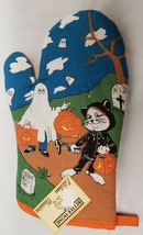 "1 Printed Kitchen OVEN MITT ,12"",HALLOWEEN GHOST & CAT WITH PUMPKINS, or... - $7.91"