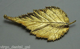 VTG Gorgeous Large Modern Gold Tone Leaf Pin Brooch - B - $12.38