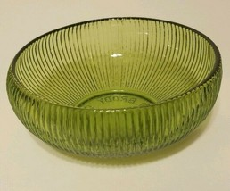 E.O BRODY CO. Green Ribbed Glass Bowl Cleveland OH. U.S.A. *Vintage* - $9.99