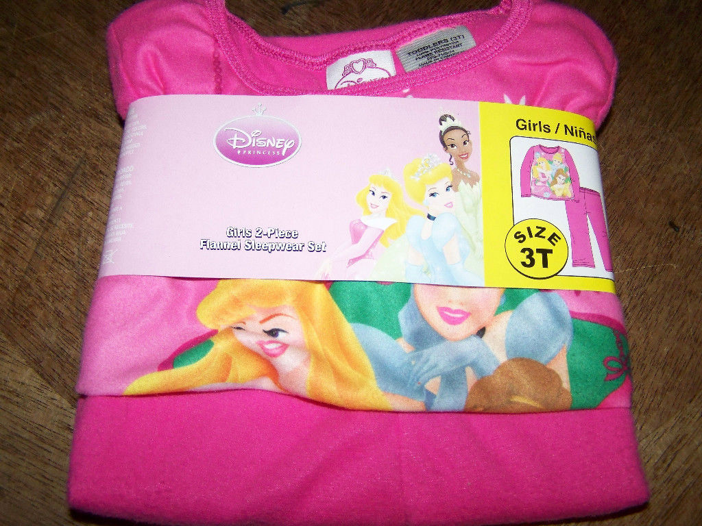 Disney Princess Girls Size 4 Polyester Flannel Pajama Set Pink