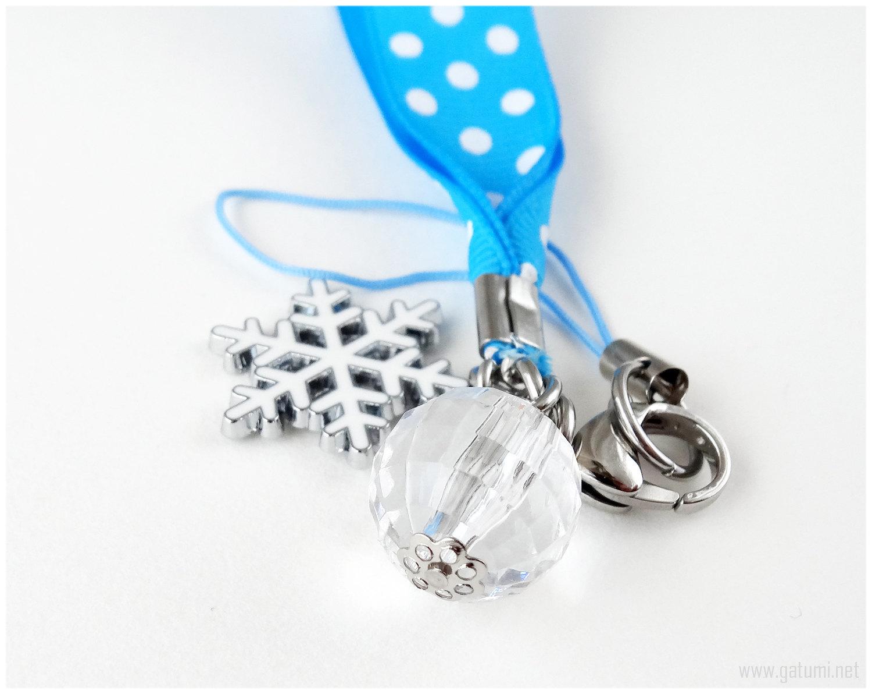 Snowflake Phone Charm, Blue Polka Dot Ribbon, Stainless Steel Clip, Gatumi, Kawa