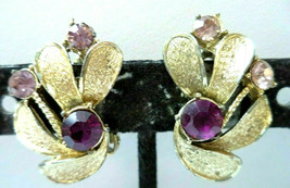 Vintage Signed Coro Purple Rhinestone cluster clip Earrings 1 1/8th inch  - $9.89