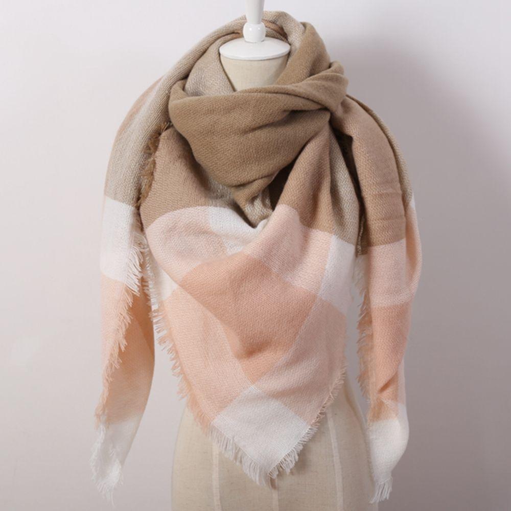 Hot Fashion Warm Cashmere Plaid Blanket Women's Warp Scarf Pashmina Shawl image 9