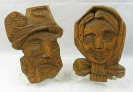 Vintage Pair Of Wood Carved Old Man Woman Figure Face Black Forest image 2