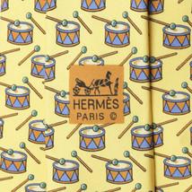 100% Auth HERMES TIE Silk Necktie Mens Classic DRUMS Pattern 7565 - $99.95