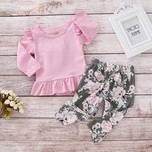 2pcs Merry Chirstmas Baby Girls Clothes Set Floral Print Long Sleeve Ruffle Tops image 3