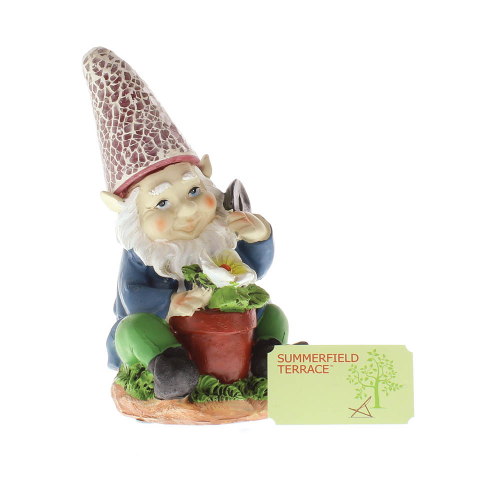 Solar Gardening Gnome With Flowerpot Red Hat Lights Up