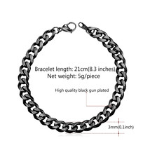 U7 Brand Men Bracelet Hand Link Chain 3MM/6MM/9MM/12MM Width Thin/Chunky... - $18.69
