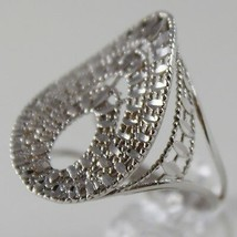 SOLID 18K WHITE GOLD BAND RING OVAL WAVE, BRIGHT, FINELY WORKED MADE IN ITALY image 2