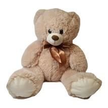 "Best Made Toys Tan Teddy Bear Plush Brown Bow 20"" Stuffed Animal - $10.19"