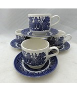 Churchill of England - Blue Willow - set/lot of 4 Coffee Cup & Saucer se... - $25.74