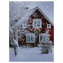 "Northlight LED Lighted Red Snowy Barn House Christmas Wall Art 15.75"" x 12"" - $19.59"
