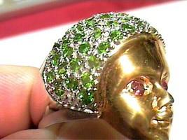 STERLING SILVER OPAL RING 8.5 face tsavorite green garnet cocktail dinne... - $88.65