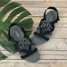 J Sport by Jambu Womens Woodland Sandals Size 8 Black Vegan Leather Comfort - $26.92