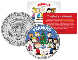 P EAN Uts Gang Christmas Tree Carolers Jfk Half Dollar Coin Charlie Brown & Snoopy - $8.56