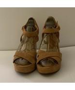 Lauren Ralph Lauren Womens Sandal Platform Heels Shoes Brown Buckle 6.5 B - $20.78